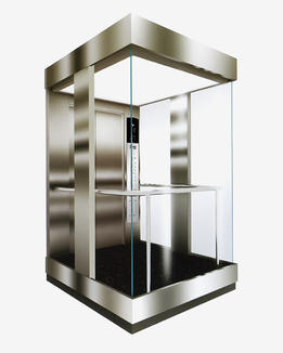 Glass observation elevator car